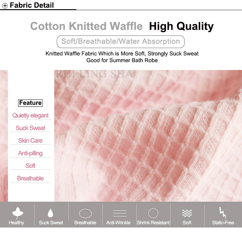 2019 100% Cotton Plus Size Waffle Kimono Bath Robe Men Towel Suck ... d30fb36d8