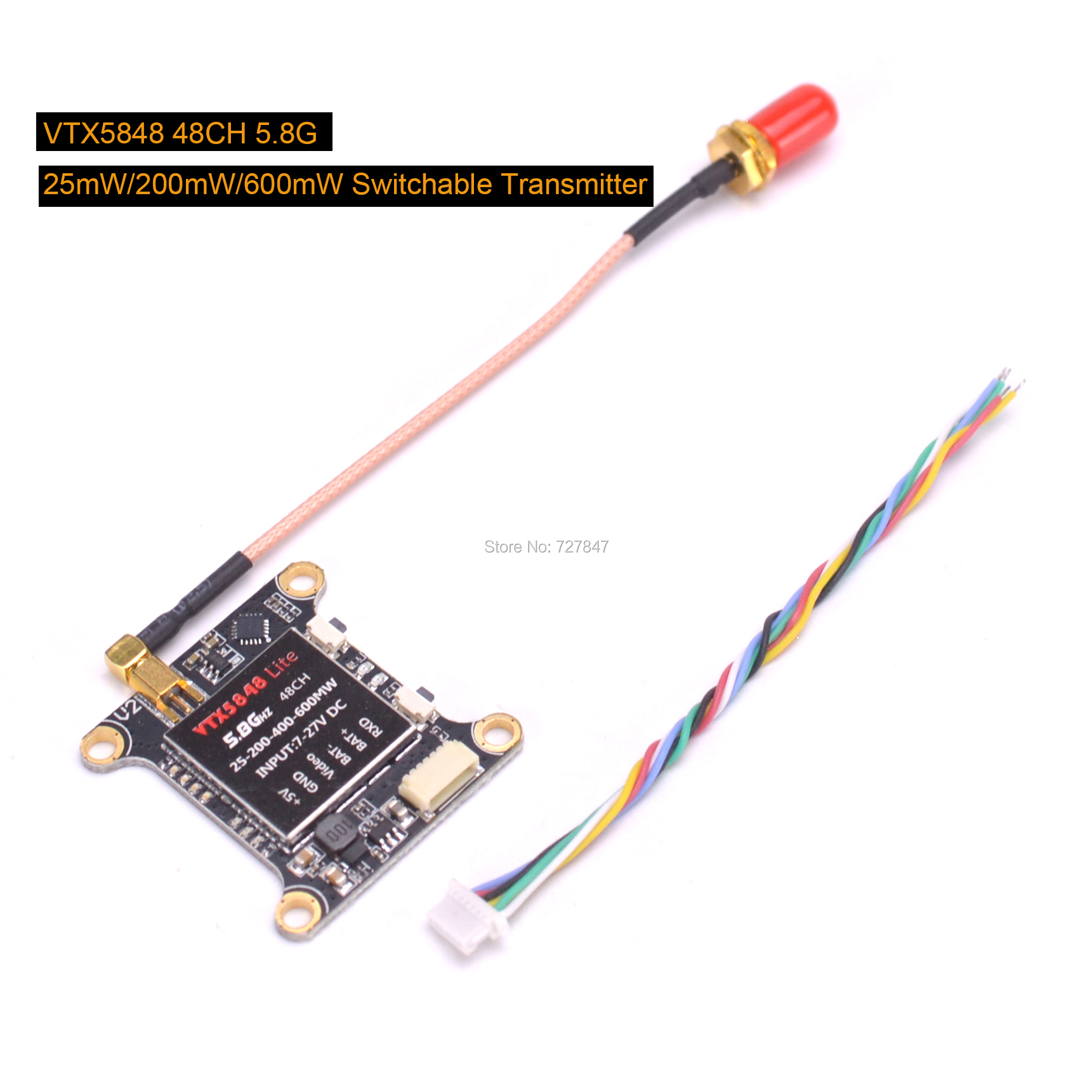 NEW VTX5848 LITE 48CH 5.8G 25/100/200/400/600mW Switchable FPV RC Drone VTX Video Transmitter Module OSD Control