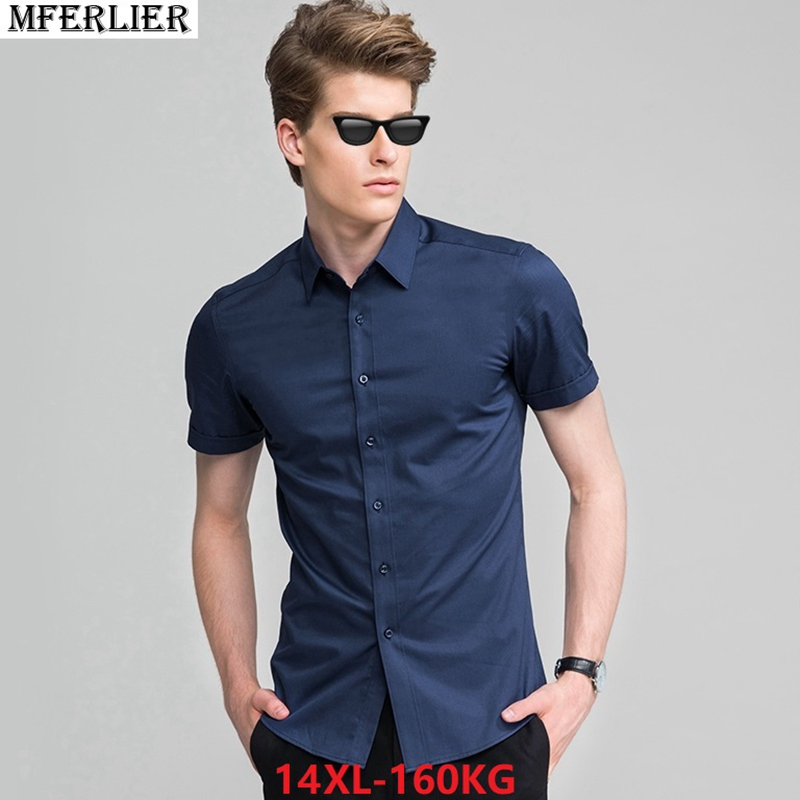 summer larger plus big size 7XL 8XL office Dress shirt men 9XL 10XL short  sleeve shirt 8b7650a72d98