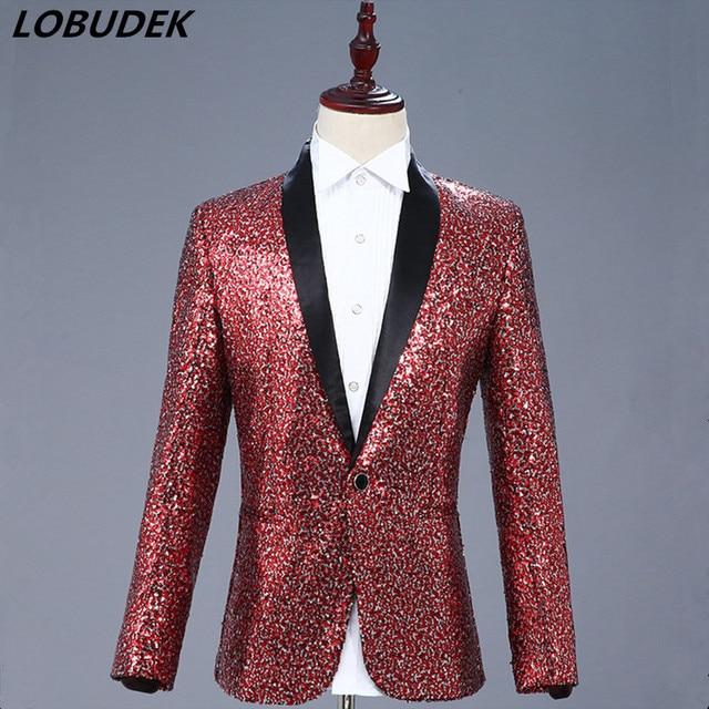 Formal Prom Sequins Jacket Blue Wine Red Color Slim Coat Men Stage Costume  Nightclub Tide DJ dcb4fa399906