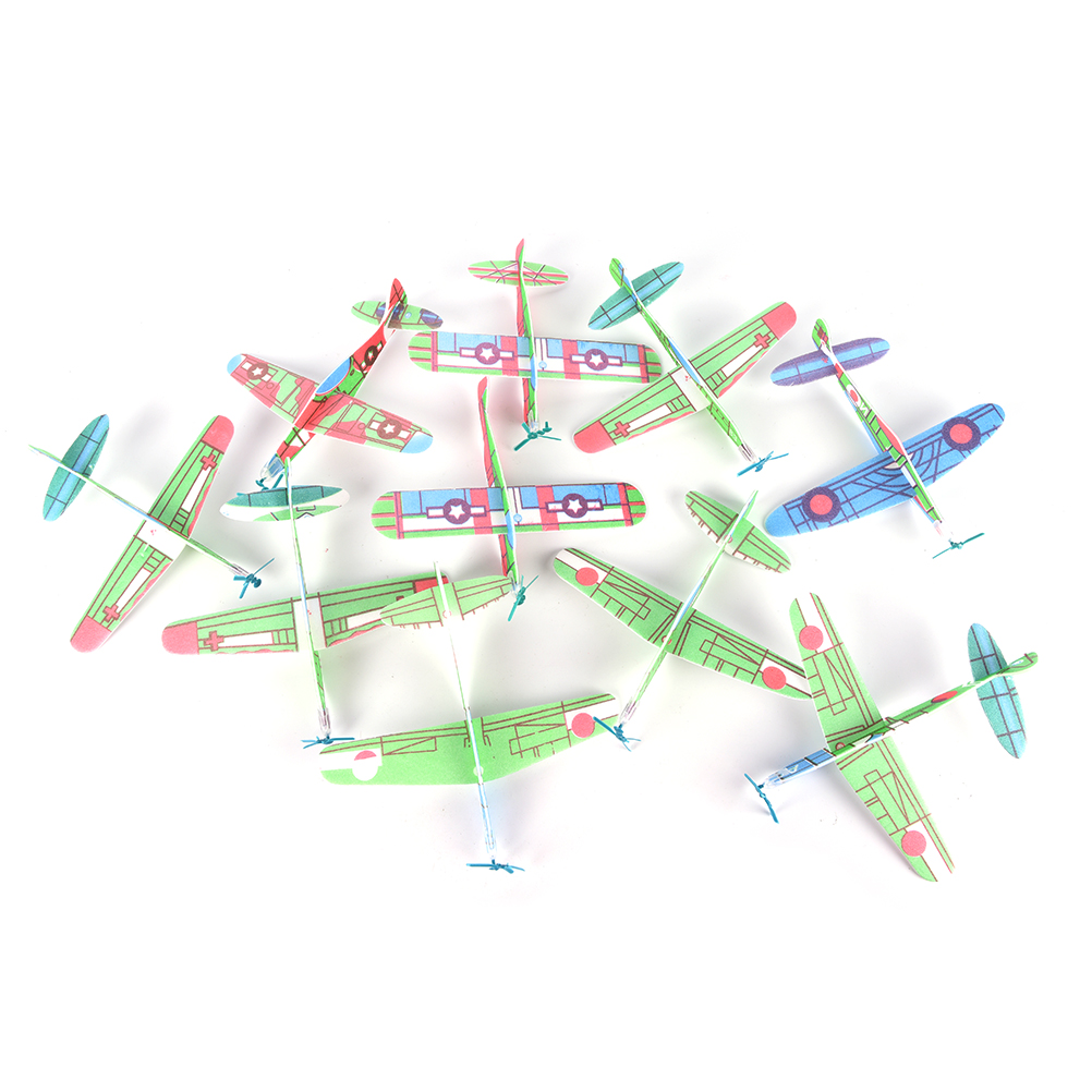 10Pcs DIY Hand Launch Throwing Glider Aircraft Inertial Foam Airplane Toy Children Plane Model Outdoor Fun Toys 19*19cm image