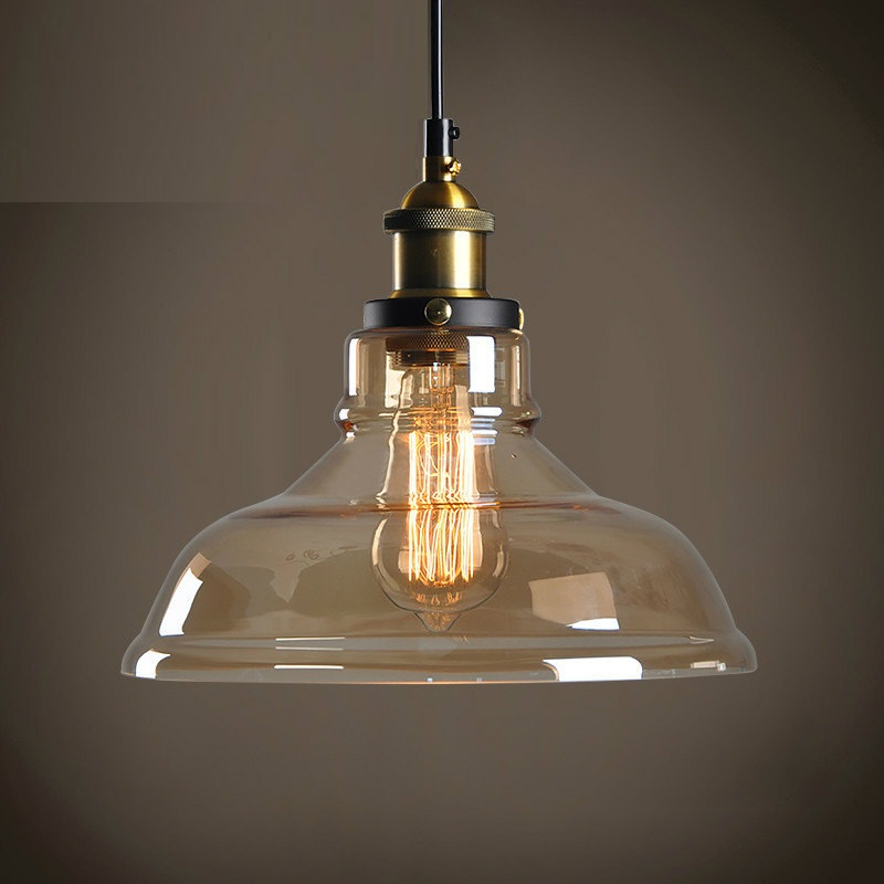 LukLoy LED Nordic American Industrial Glass Pendant Light Retro Loft Living Room Kitchen Dining Room Glass Hanging Lamp Retro