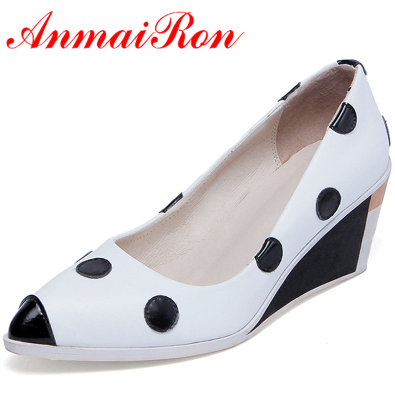ANMAIRON New Women High Heels Pumps Shoes Woman Size 34-39 Wedges Pointed Toe Spring Summer & Autumn Party Pumps Platform Shoes anmairon women pumps 2018 low heel spring court shoes woman pointed toe pumps med heels silver gold women black giltter shoes