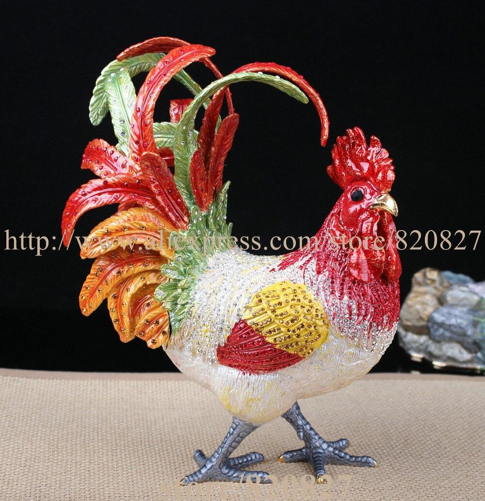 Big Rhinestone Chicken Metal Jewelry Box Home Huge Rooster Chicken Figurine Trinket Hinge Pill Box Decorative Ornament Gift цена