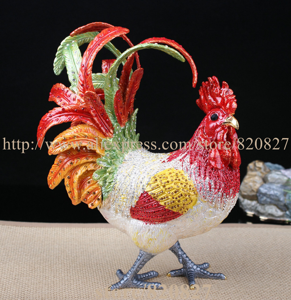 Big Rhinestone Chicken Metal Jewelry Box Home Huge Rooster Chicken Figurine Trinket Hinge Pill Box Decorative Ornament Gift