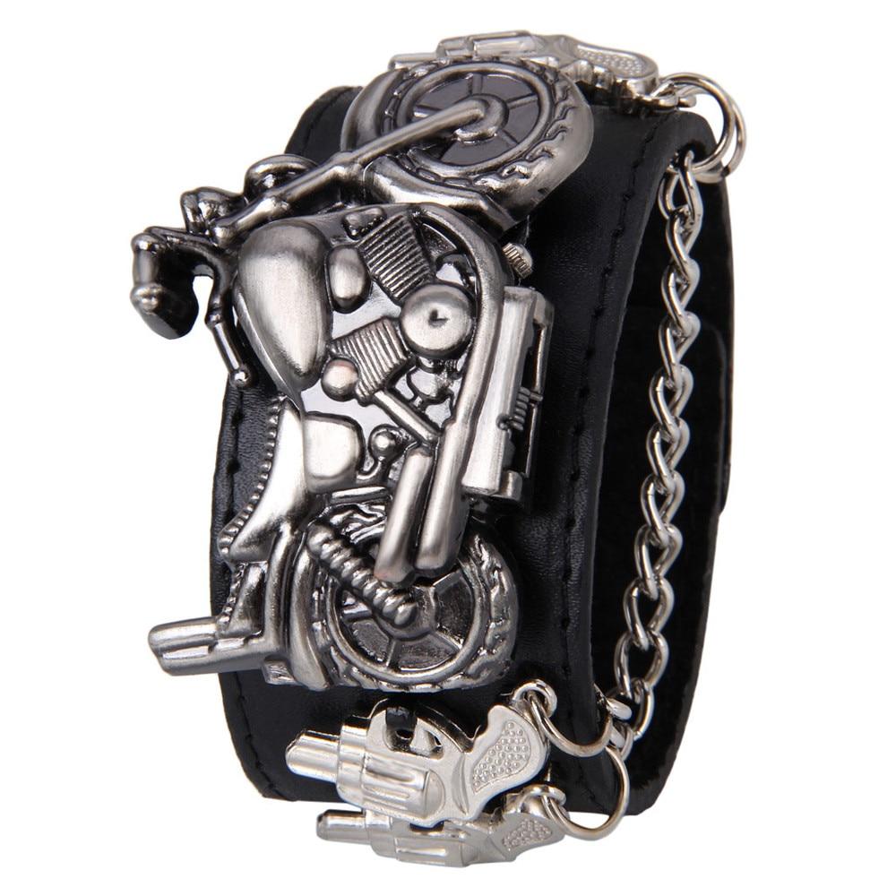 Hot selling New Hot Punk Rock Chain Skull Women Men Big Leather Bracelet Cuff Gothic Quartz Wrist Watch saat Uhren clock xfcs punk rock chain skull women men bracelet cuff gothic wrist watch 928