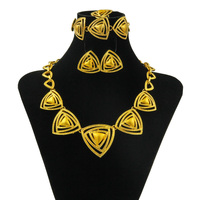CZ Dubai African Fashion Gift Set Unique Design Gold Necklace Jewelry Set Luxury Italian Bride Party