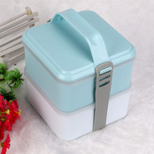 Portable 2 Layers Bento Lunch Box Plastic Food Container Blue Inside chopsticks spoon bento box japanese style