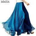 Fashion Women Long Chiffon Solid Skirts Elastic Waist Pleated Maxi Skirt  Beach Boho Vintage Style Summer Plus Size Skirts