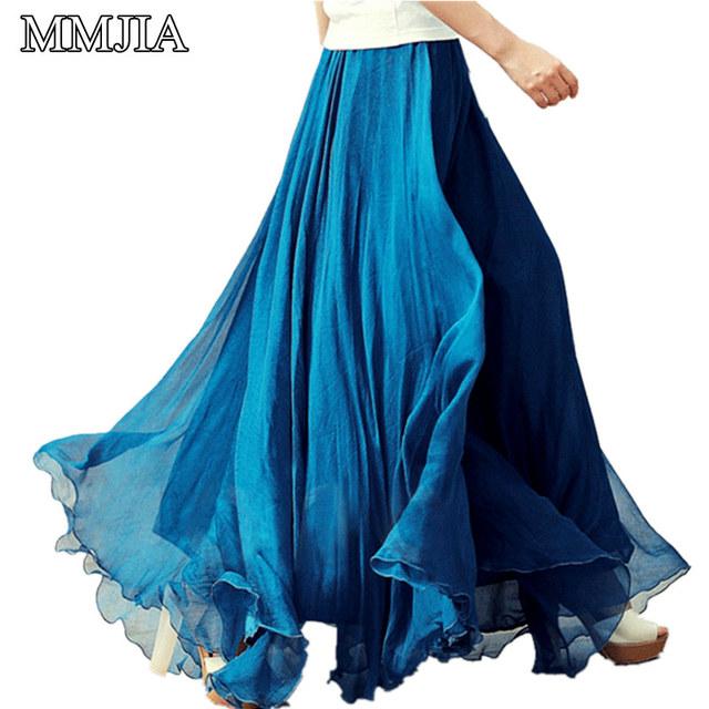 Mujeres de la manera Larga de Gasa Sólido Faldas de Cintura Elástico Plisada Maxi Falda de la Playa Boho del Estilo de La Vendimia Del Verano Más Tamaño Faldas