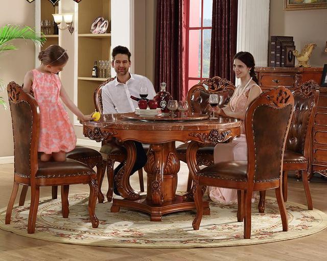 € 2145.52 |Mesa redonda de mármol tallada de madera sólida de estilo  europeo con 6 sillas en Sets para el comedor de Muebles en AliExpress.com |  ...