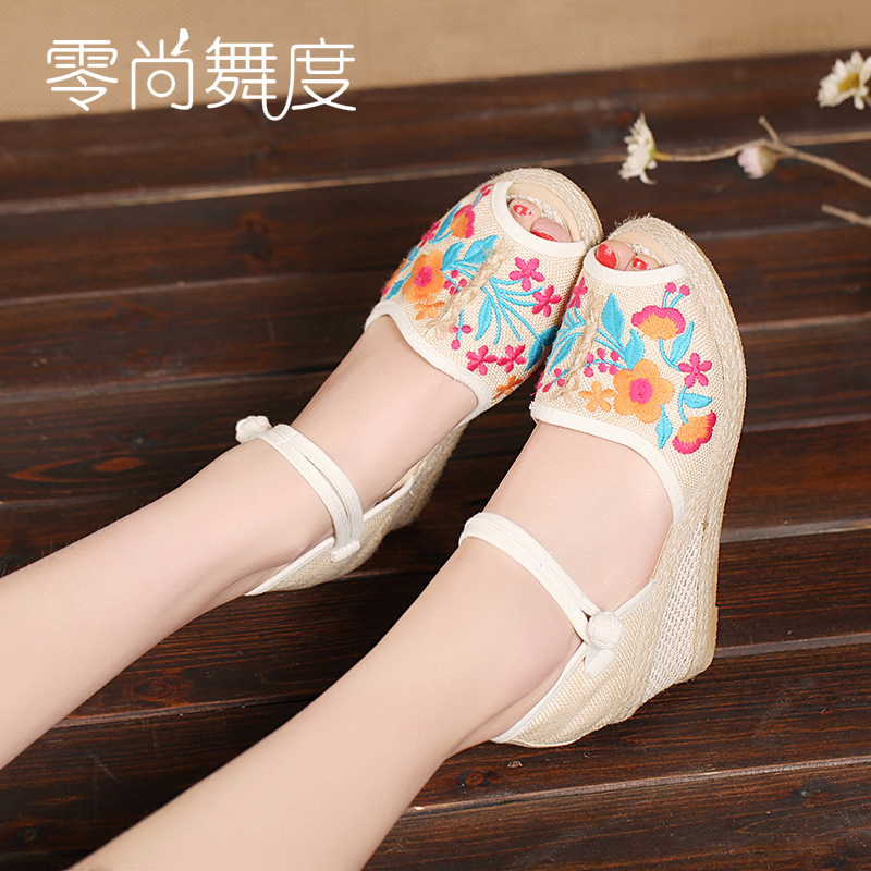 Vintage Women Straw sandals new high-heeled wedge platform sandals national embroidered Floral pu leather shoes Girl sandals