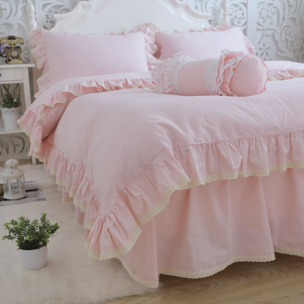Pink princess ruffle lace bed set girl,twin full queen king cotton single double home textile bed dress pillow cases quilt cover