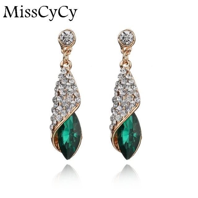 Fashion Brand Alloy Gold Colors Statement Austria Blue Crystal Long Earrings Rhi