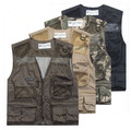 2014 Summer Autumn Man's Mesh Sleeveless Vest For Casual Multi pocket Men Journalist Photographer vests Jacket