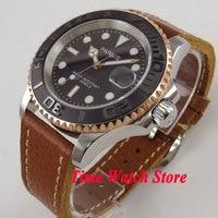 41 Mm Parnis Miyota 8215 5ATM Automatische Heren Horloge Zwarte Wijzerplaat Saffierglas Datum Venster P885