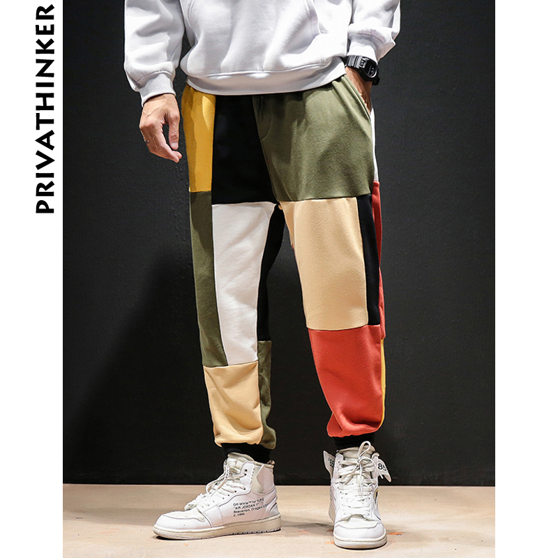 Privathinker Joggers Pants Vintage Mens Streetwear Patchwork-Color Male Casual Fashions