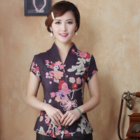 New Arrival Purple Female V Neck Shirt top Chinese Classic Ladies Cotton Blouse Size M L XL XXL 3XL 4XL Mujer Camisa TYR051802