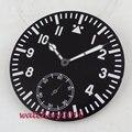 38 9 мм PARNIS светящиеся черные стерильные часы циферблат + стрелки часов подходят 6498 движение Мужские часы