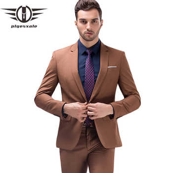 Plyesxale Brown Green Burgundy Black Pink Suits Men 2018 Brand Slim Fit Groom Wedding Suit Korean Fashion Party Prom Wear Q121 - DISCOUNT ITEM  29% OFF All Category