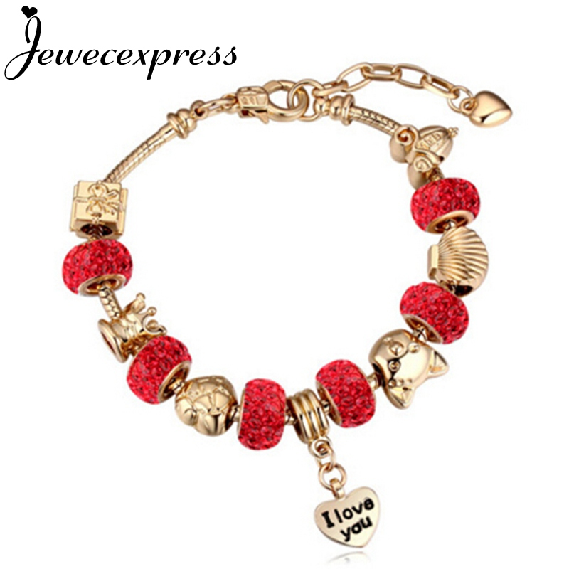 Jewecexpress Fashion heart pendant and cartoon mouse beads golden bracelet