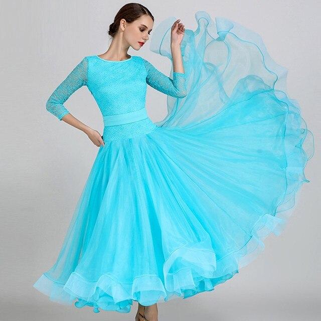bf79f2ee7beb447 Взрослый синий бальных танцев конкуренции платья Бальные Вальс платья  Стандартный Танцы платье женщины бальные платье с