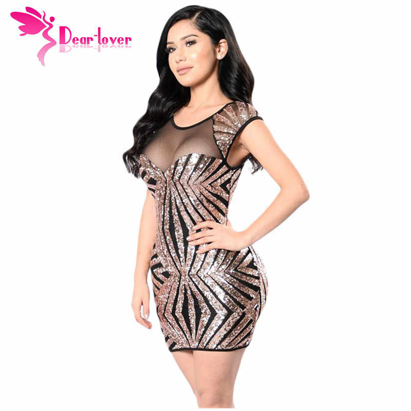 Dear Lover Party Dress Summer Women Short Vintage Gold Sequin Mesh Cutout  Sexy Club Bodycon Mini
