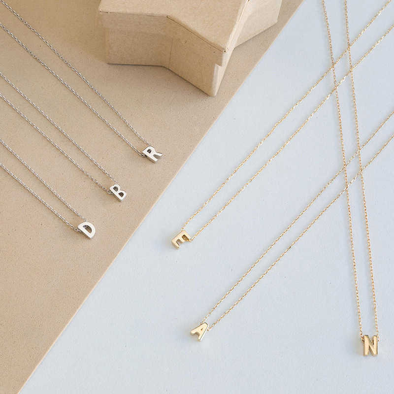 New Simple Fashion A-Z Metal Letter Initial Charms Necklace Pendant For Jewelry Personalized Cut Necklaces Gold Silver Chain