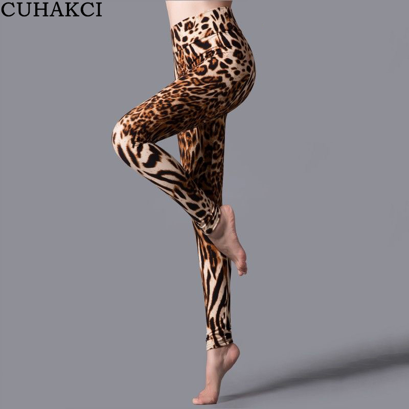 CUHAKCI Elastic High Waist Pants Printed Stripe Leopard   Legging   Summer Women jeggings Sportwear Fitness Leggins Workout   Legging