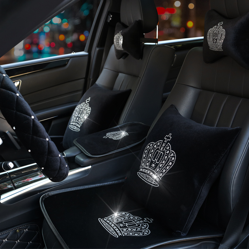 Plush font b Car b font Seat Cover Crown Diamond Auto font b Interior b font
