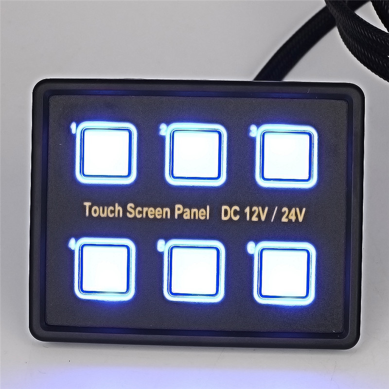 12V/24V Touch Screen Switches Panel 6 Gang LED Switch Panel Slim Touch Control Box with VGA Socket for Marine Boat Car 12v 24v 6gang blue led capacitive touch screen control switch panel box for car marine boat caravan yacht truck