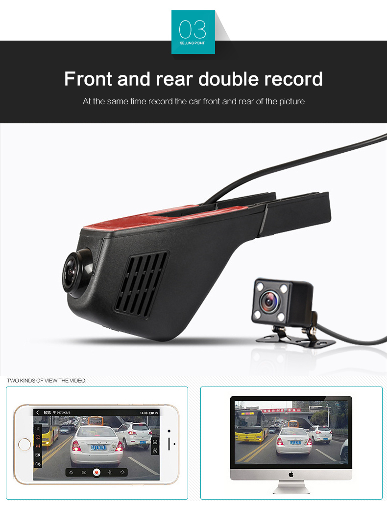 Jansite Car Dvr Wifi Car Camera Registrator Digital Video Mini Dash Cam Video Recorder Camcorder Full HD 1080P Dual Lens Dvr 6