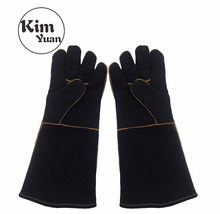 KIM YUAN 022L Black Welding Gloves Heat Resistant Perfect for Welder/Cooking/Baking/Fireplace/Animal Handling/BBQ  16inches kim yuan 025l cowhide welding gloves heat resistant t for welder cooking baking fireplace animal handling bbq black red 14inches