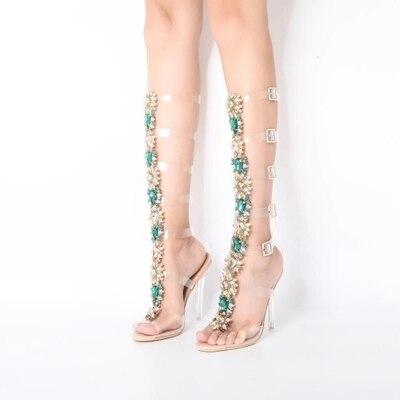 Hauts Chaussures Sangle Picture Boucle À 10 As En Métal Cm Sandales Bling Date Libre Cristal Femmes Style Talons D'été Décoration Transparent Bateau FYTx6w1