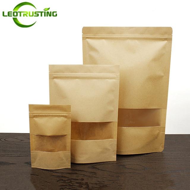 Popular 50pcs Kraft Paper Clear Window Gift Bags Coffee Beans/Powder Nuts  TD98