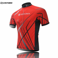 XINTOWN Team Cycling Jersey Red Top Short Sleeve Bicycle Clothing Bike Sportswear Quick Dry