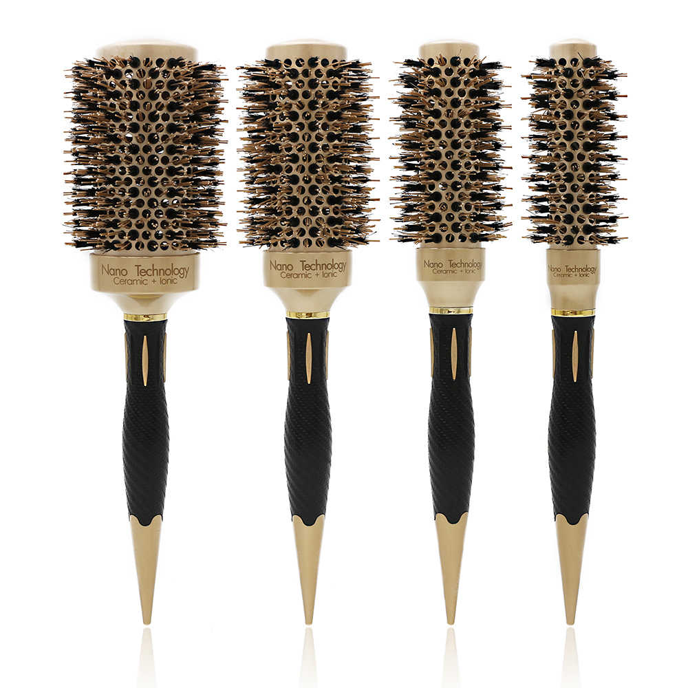 New Handle Gold Hair Round Ceramic Brush 4 Sizes Boar Bristle Hairdressing Thermal Brush For Hair Curling Aluminum Barrel Comb