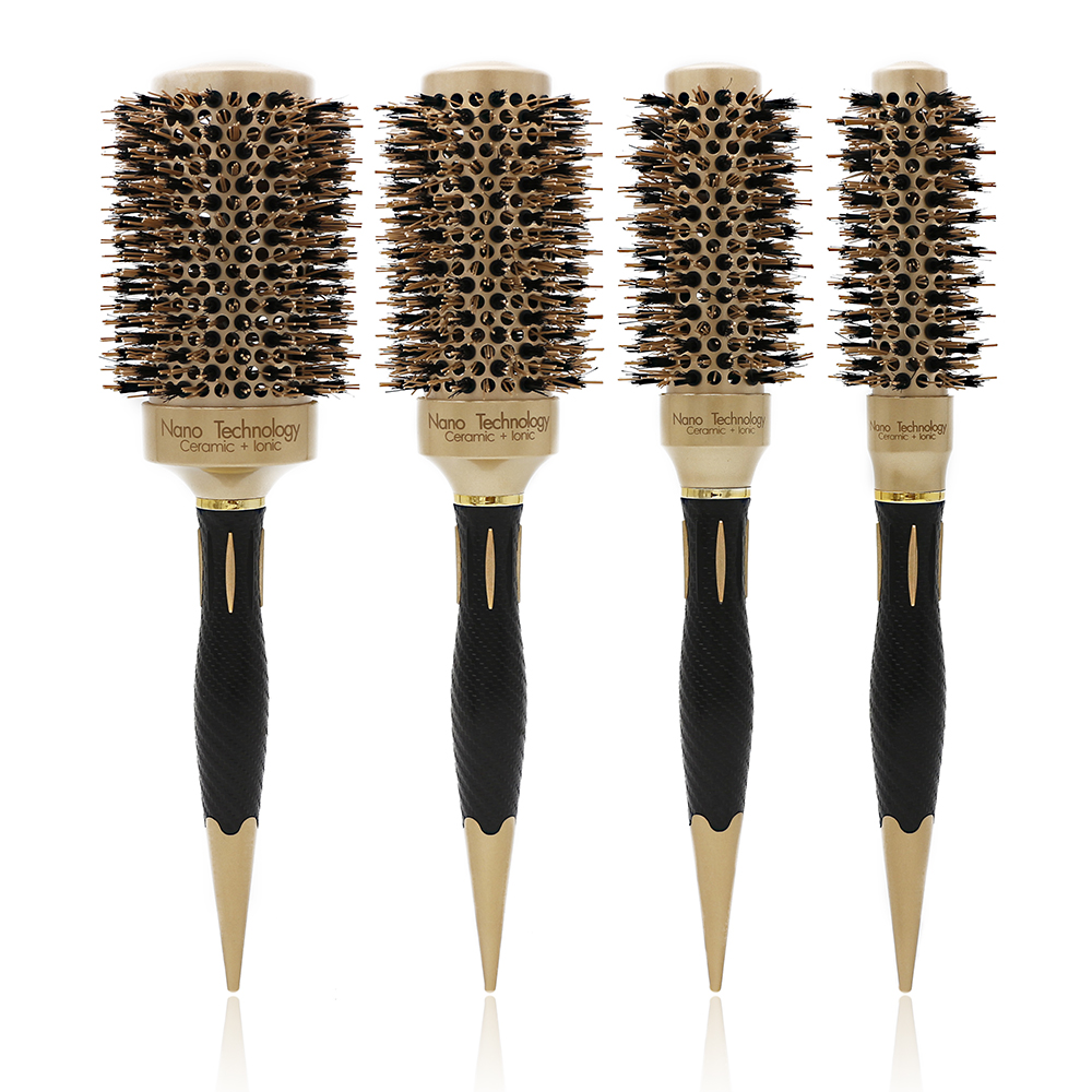 New Handle Gold Hair Round Ceramic Brush 4 Sizes Boar Bristle Hairdressing Thermal Brush For Hair Curling Aluminum Barrel Comb bristle brush page 4