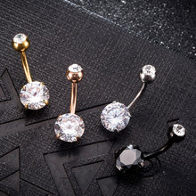 Piercing guarda-chuva para unhas feminino, joia de aço inoxidável com cristal e umbigo