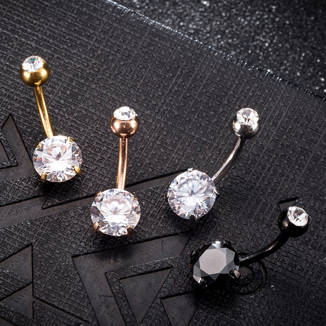 New Summer Style Umbilical Nails Navel Body Piercing Stainless Steel Crystal Belly Button Ring For Women Jewelry