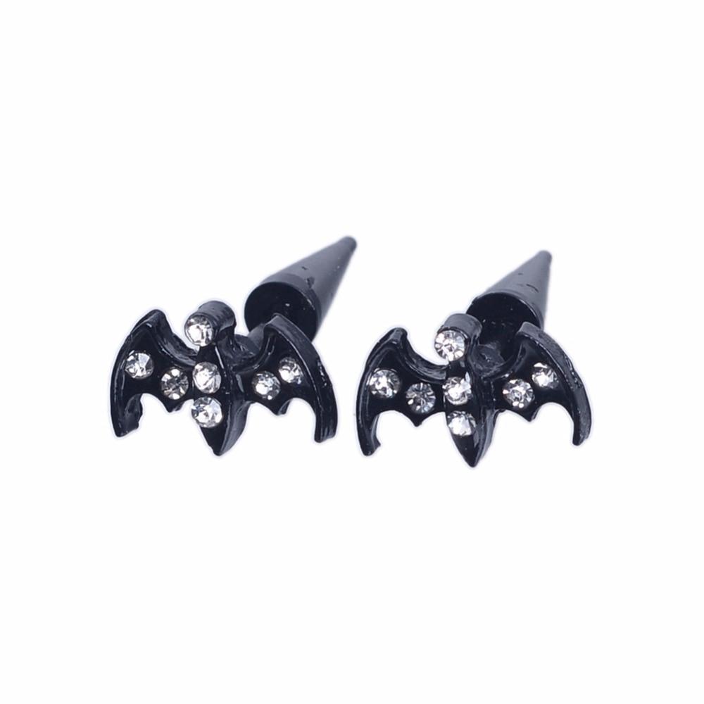Creative Punk Black Crystal Bat Ear Piercing Stainless Steel Rock Hiphop Style Ear Studs Men Women Pierced Jewelry