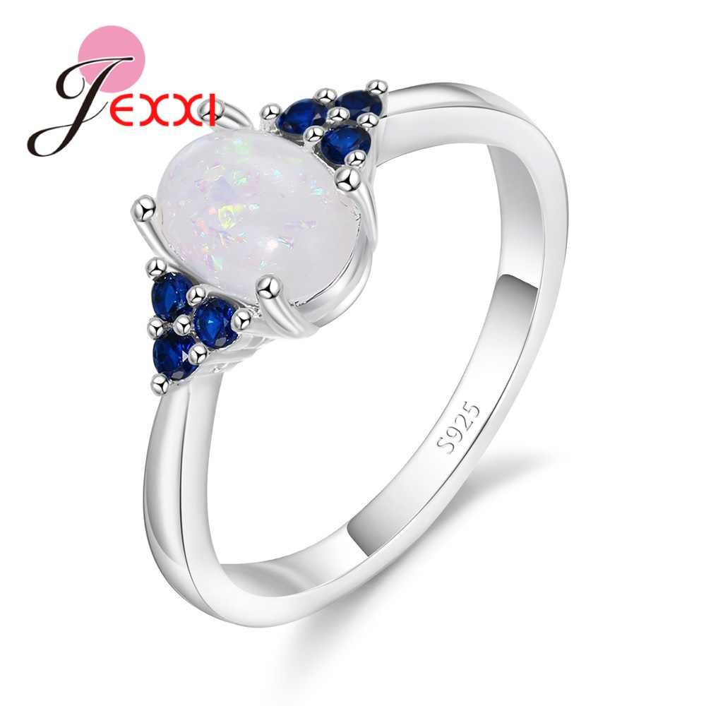High-End Women Bridal Wedding Elegance 925 Sterling Silver  Rings Accessories Paved Oval White Crystals Stones Bague Bijoux