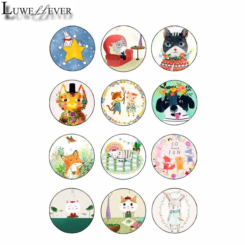 10mm 12mm 14mm 16mm 20mm 25mm 427 12pcs lot Animal Mix Round Glass Cabochons Jewelry Findings 18mm Snap Button Charm Bracelet in Jewelry Findings Components from Jewelry Accessories
