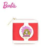 Barbie mignon filles portefeuille petite fermeture éclair porte-monnaie portefeuille mode avec les titulaires de cartes court motif conçu femmes portefeuille