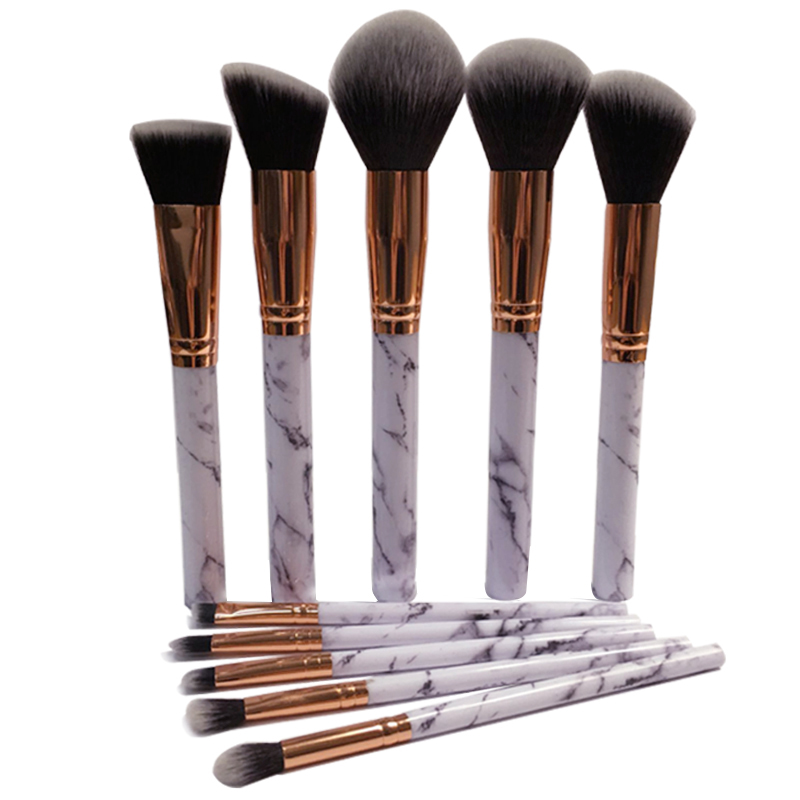 Pro 10Pcs Marble Stripe Makeup Brushes Set Face Eye Make Up Kakubi Brush Gold Aluminum Foundation Eyeshadow Loose Powder Brush