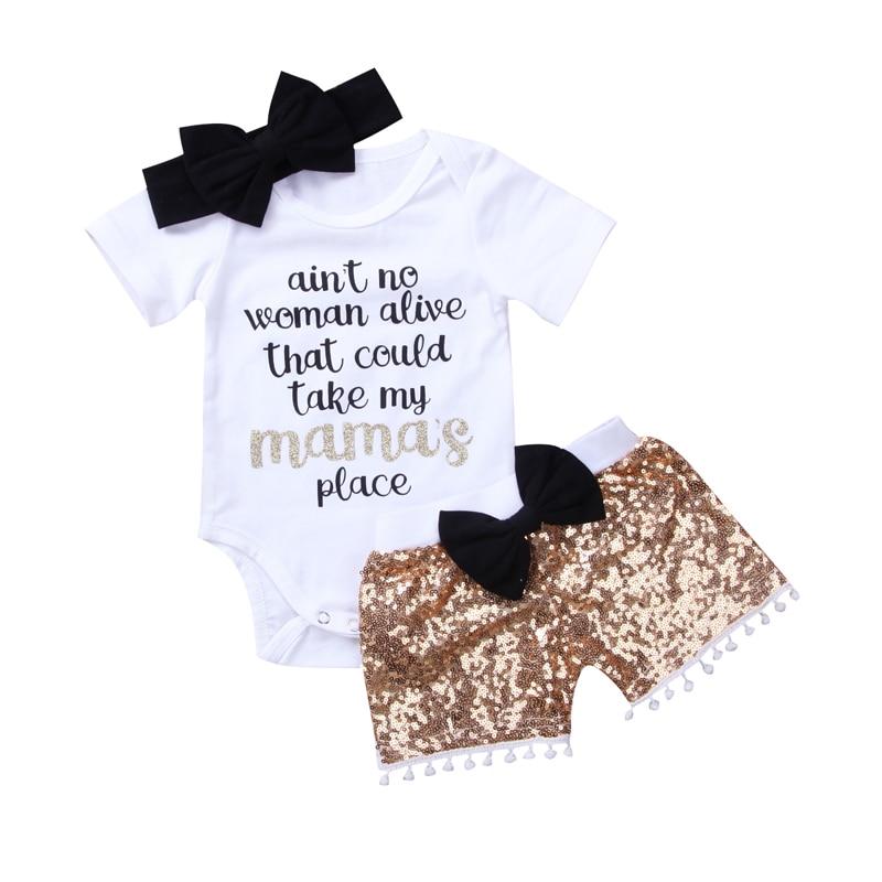 Neue Mode Neugeborenes Mädchen Jungen Kleidung Pailletten 3 stücke Outfits Strampler Top Hosen Stirnband Kleidung Set Overall
