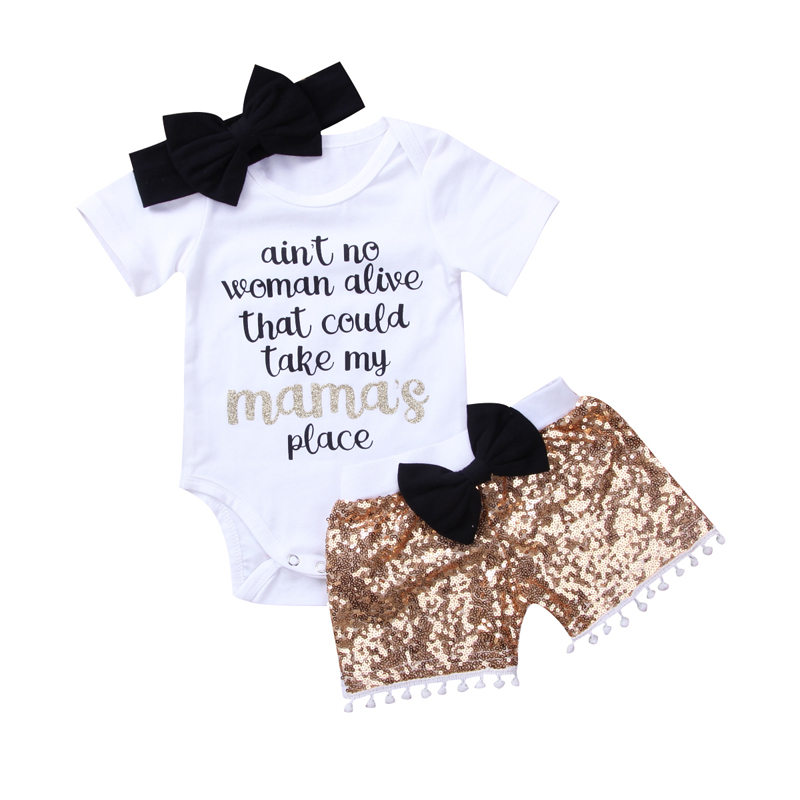 New Fashion Newborn Baby Girl Boy Clothes Set Sequins 3pcs Outfits Romper Top Pants Headband Clothes Set Jumpsuit