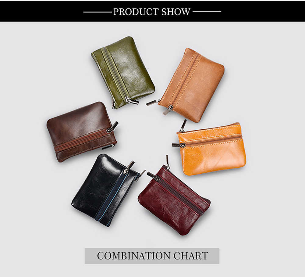 6a5c408f7c2 ... Coin Purse Women Genuine Leather Zipper Coin Purses Ladies Metal Key  Ring Card Holder Female Small