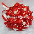 2015 New Arrival Ramo De Novia Artificial  Festive Red Bride Holding Flowers Inlaid Big Pearl Upscale Wedding Bouquet SH04