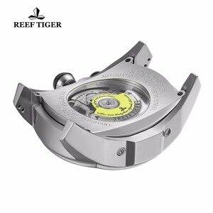 Image 5 - Дизайнерские спортивные часы Reef Tiger/RT с турбийоном, из нержавеющей стали, с резиновым ремешком и синим циферблатом, автоматические часы RGA3069